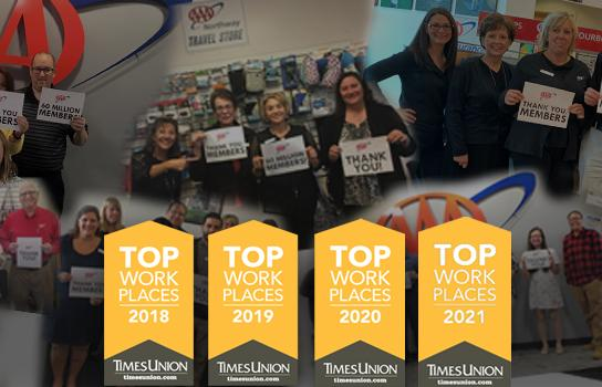 AAA Northway Top Places to Work 2019, 2019, 2020, 2021
