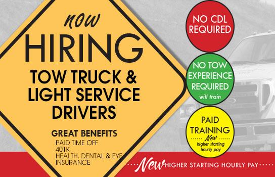 Now hiring AAA Tow Truck and Light Service Drivers - New higher starting hourly pay!